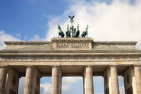 Low angle view of Brandenburg Gate against sky
