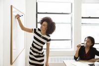 Businesswomen preparing presentation in creative office