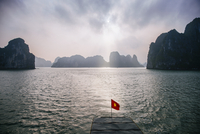 Idyllic view of Halong Bay at dusk