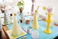 View of decorated table at home during party