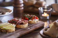 Close-up of bruschettas served on table