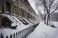 Buildings covered with snow during winter