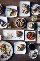 Overhead view of meals served in plate on table
