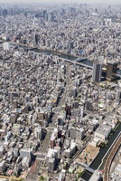 High angle view of cityscape on sunny day