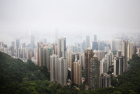 High angle view of Hong King skyline in foggy weather