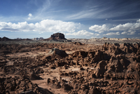 Scenic view Goblin Valley State Park against sky on sunny day