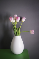 Pink tulips in vase on table against gray wall