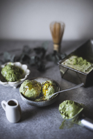 High angle view of matcha green tea ice cream served in bowl