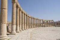 Columns against clear sky on sunny day