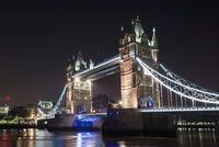 Low angle view of Tower Bridge at night