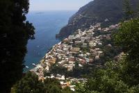 High angle view of Positano on sunny day