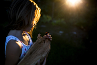 Side view of girl holding caterpillar and wood in yard during sunset