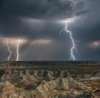 Lightning over Badlands National Park at night
