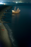 High angel view of shipwreck moored at coastline