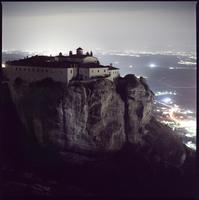 Agios Stefanos Monastery against sky in Meteora at dusk