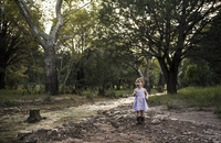 Curious girl standing by stream against trees at forest 11100047452| 写真素材・ストックフォト・画像・イラスト素材|アマナイメージズ