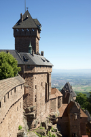 High angle view of Haut-Koenigsbourg Castle against clear blue sky