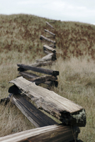 Wooden railing on grassy field