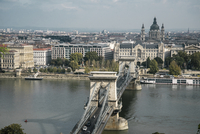 High angle view of Szechenyi Chain Bridge against cityscape