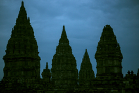 Low angle view of Prambanan temple against sky