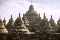 Stupas at Prambanan temple against sky