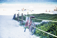 Bicycle parked by railing at beach