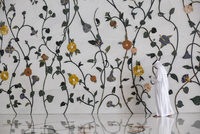 Side view of man in Sheikh Zayed Mosque