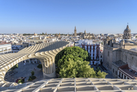Metropol Parasol and cityscape against clear blue sky 11100050170| 写真素材・ストックフォト・画像・イラスト素材|アマナイメージズ