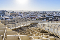 Metropol Parasol and cityscape against clear sky during sunset 11100050171| 写真素材・ストックフォト・画像・イラスト素材|アマナイメージズ