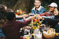 Friends toasting wine while sitting at table in backyard