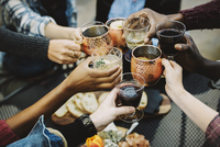 Cropped image of happy friends toasting drinks while sitting in backyard 11100050616| 写真素材・ストックフォト・画像・イラスト素材|アマナイメージズ