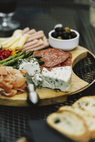 High angle view of food on wooden board