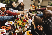 Cheerful friends toasting drinks at table in backyard