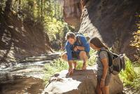 Friends examining rocks in forest 11100051020| 写真素材・ストックフォト・画像・イラスト素材|アマナイメージズ