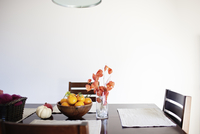 Dining table by wall at home
