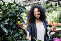 Portrait of cheerful woman examining plants in market