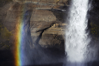 Scenic view of Haifoss waterfall by rainbow