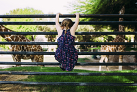 Rear view of girl climbing on railing on field in zoo 11100053897| 写真素材・ストックフォト・画像・イラスト素材|アマナイメージズ