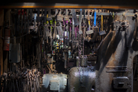 Various metallic tools in factory