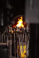 Various metallic tongs against fire in factory