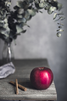 Apple and cinnamons by vase on wooden table