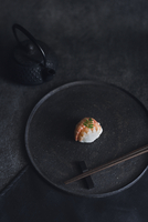 High angle view of sushi with chopsticks in plate 11100055570| 写真素材・ストックフォト・画像・イラスト素材|アマナイメージズ