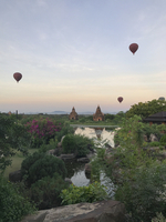 Hot air balloons flying over Bagan