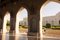 Arches at Sultan Qaboos Grand Mosque on sunny day