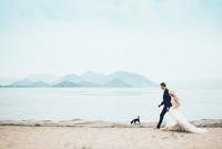 Bridge and groom with dog walking at beach against sky 11100059079| 写真素材・ストックフォト・画像・イラスト素材|アマナイメージズ