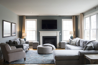 Sofas arranged in modern living room 11100059985| 写真素材・ストックフォト・画像・イラスト素材|アマナイメージズ