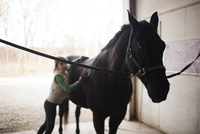 Girl standing by horse in stable