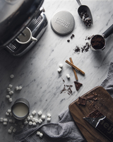 Overhead view of hot chocolate ingredients on table 11100062102| 写真素材・ストックフォト・画像・イラスト素材|アマナイメージズ