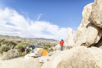Hiker walking on rocks at Joshua Tree National Park during sunny day 11100062192| 写真素材・ストックフォト・画像・イラスト素材|アマナイメージズ