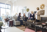 Saleswomen discussing with female customers in furniture store